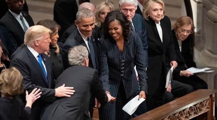 George H.W. Bush, George H.W. Bush funeral, george w bush, michelle obama, bush give michelle obama candies, viral videos, indian express