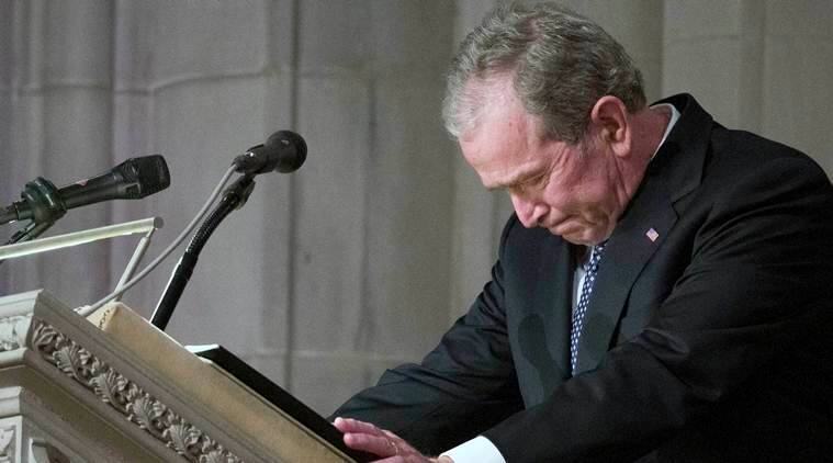 Watch video: In tears, George W Bush bids farewell to his father