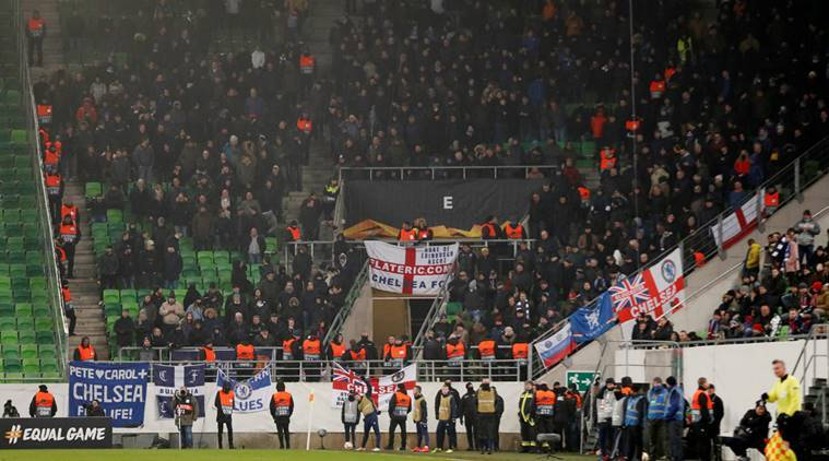 Chelsea fans during their Europa League game against Vidi in Budapest, Hungary