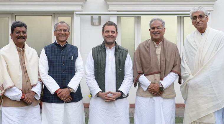 Congress chief Rahul Gandhi posted a photo with the four Chhattisgarh CM aspirants -- T S Singh Deo Tamradhwaj Sahu, Bhupesh Baghel and Charan Das Mahant -- on Twitter on Saturday. (Photo credit: Twitter/@RahulGandhi)