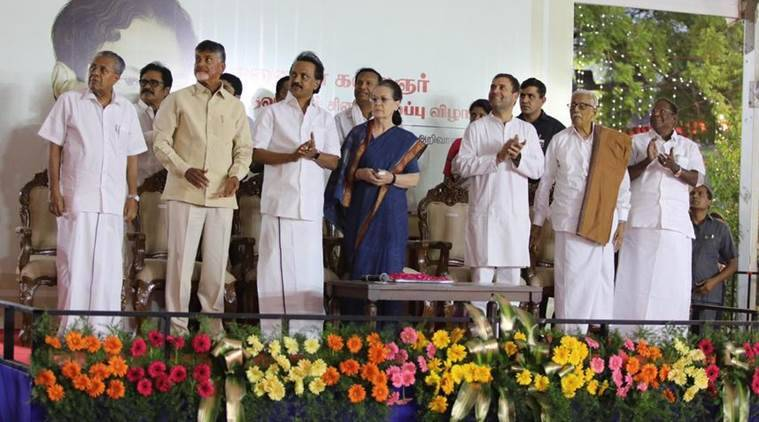 The Opposition leaders at the event at DMK headquarters in Chennai. (Photo credit: Twitter/@INCIndia)