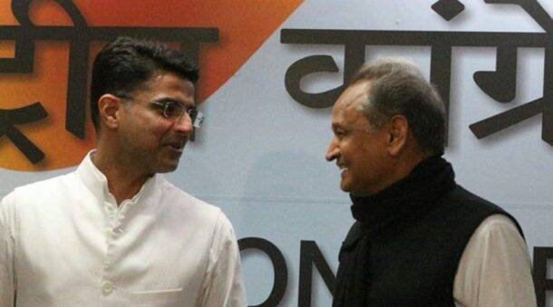 Assembly Elections 2018 Results LIVE updates: Newly-elected Chief Minister Ashok Gehlot (right) and Deputy Chief Minister Sachin Pilot at the press conference in Delhi. (Express photo/Amit Mehra)