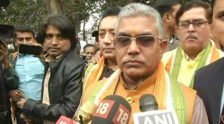 West Bengal BJP chief Dilip Ghosh addresses the media on Sunday. (Photo credit: ANI)