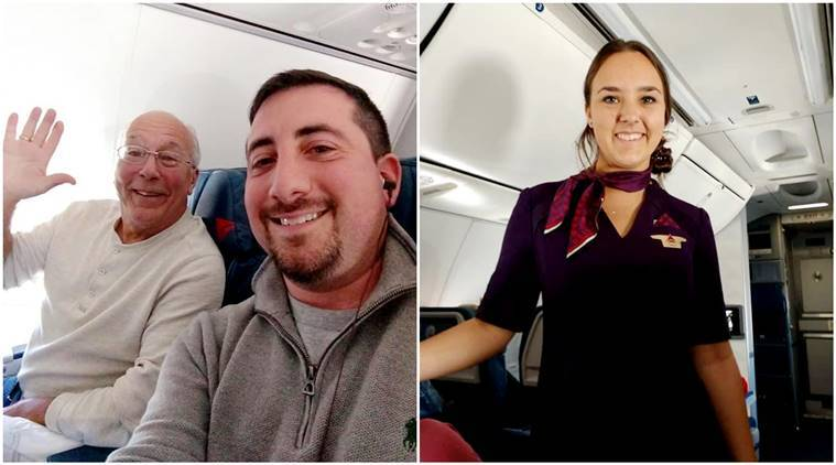 father takes flight christmas daughter working, father daughter cute story, father daughter viral story, flight attendant, air hostess, heartwarming father story, Christmas, Christmas viral story,