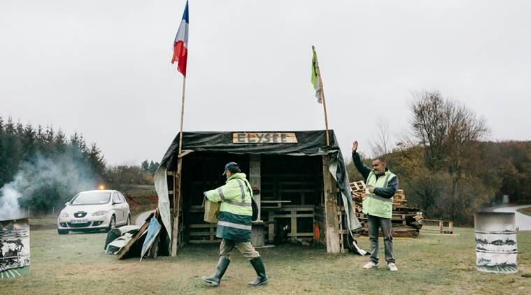Yellow vest protesters at a roundabout in Vaury, France.
