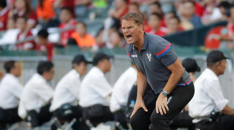 Frank de Boer, manager of Crystal Palace FC, shouts during the third place playoff match against West Bromwich Albion FC at the Premier League Asia Trophy soccer tournament in Hong Kong.