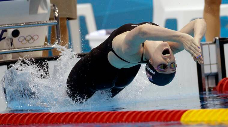 United States' Missy Franklin starts in the women's 200-meter backstroke final at the Aquatics Centre in the Olympic Park during the 2012 Summer Olympics in London.