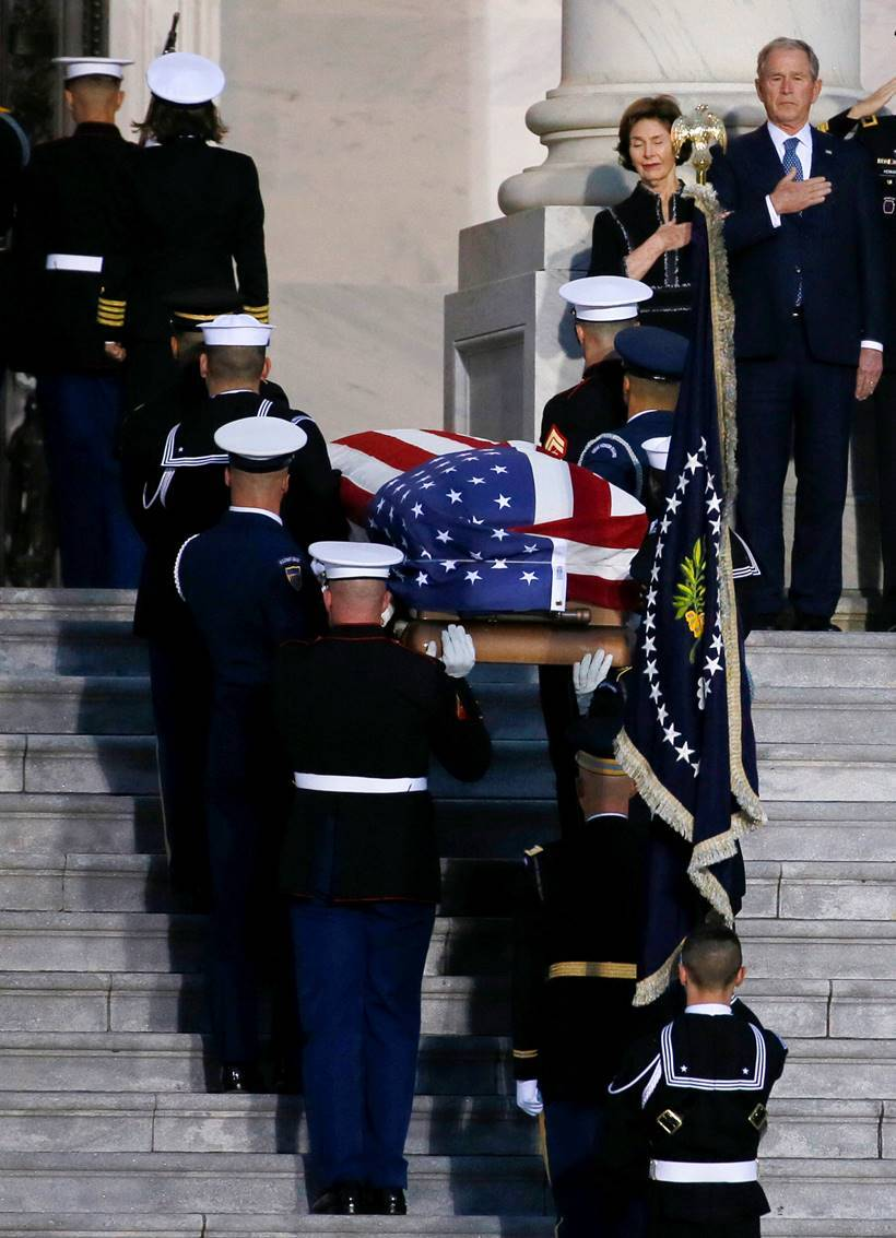 Last salute: George H W Bush hailed at funeral as 'soldier-statesman'