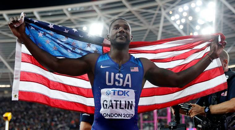 Justin Gatlin of the U.S. celebrates after winning the race