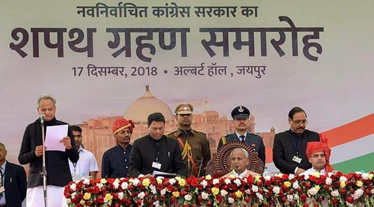 New Chief Minister of the state as Rajasthan Ashok Ghelot during the swearing-in ceremony as Governor Kalyan Singh looks on, at Albert Hall, in Jaipur. (Photo credit: PTI)