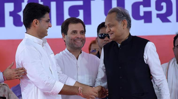 Congress chief Rahul Gandhi with Sachin Pilot and Ashok Gehlot. (File)