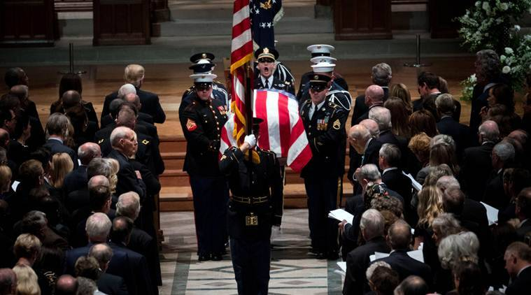 US bids goodbye to George HW Bush with high praise, cannons, humor