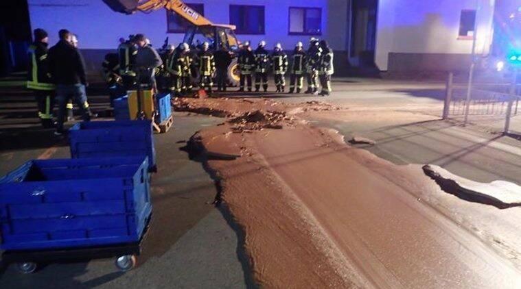 germany chocolate spill, factory chocolate spill, chocolate spill, charlie and chocolate factory, odd news, bizarre news, indian express, funny news,