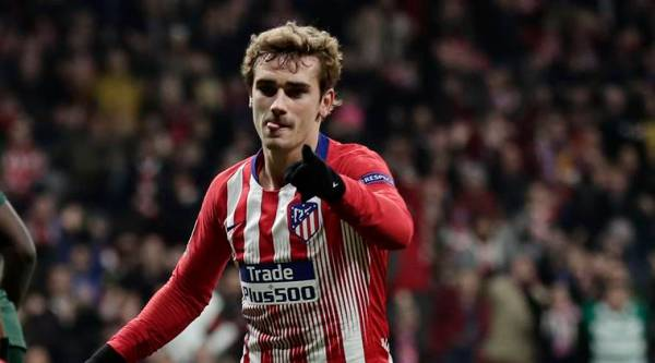 Atletico forward Antoine Griezmann after scoring his side's second goal during a Group A Champions League soccer match between Atletico Madrid and Monaco at the Metropolitano stadium in Madrid