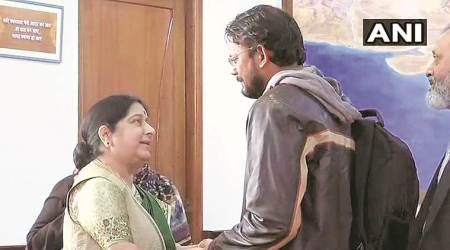 Hamid Nehal Ansari, indian brought home, hamid ansari meets sushma swaraj, Pakistan jail India-Pakistan, indian in pak jail, indian freed from pak jail, indian express, indo pak relations