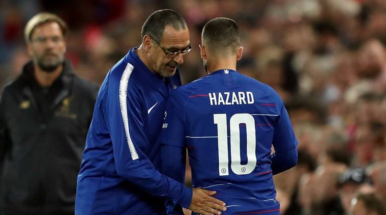 Chelsea's Eden Hazard talks to manager Maurizio Sarri at Anfield, Liverpool