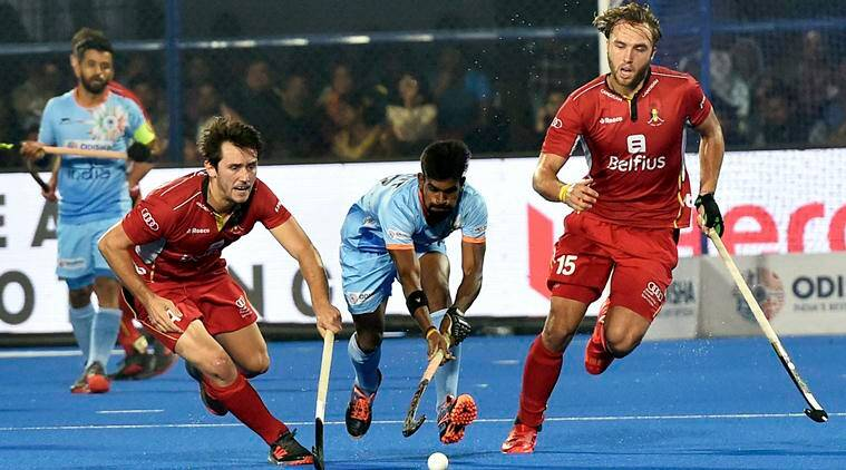 india take on belgium during hockey world cup