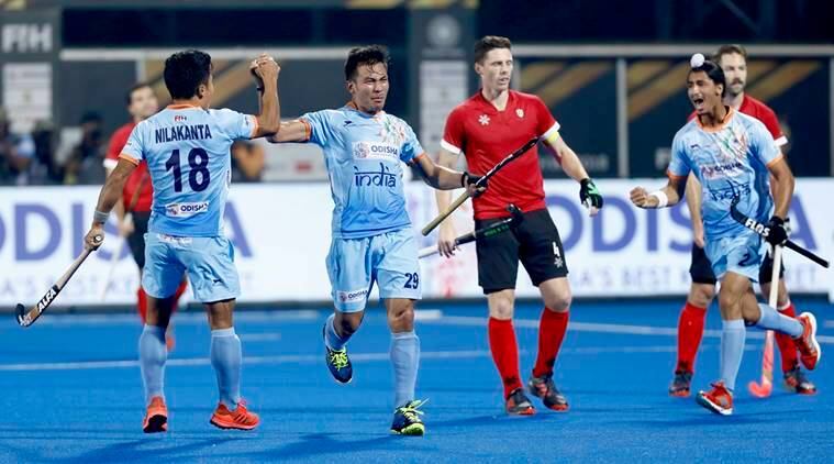 India and Canada players in the Pool C fixture of the Hockey World Cup