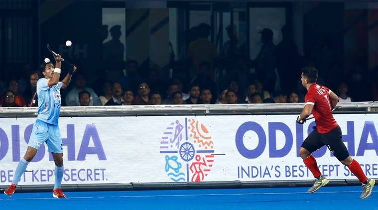 India and Canada players in the final group game at the Hockey World Cup in Bhubaneswar