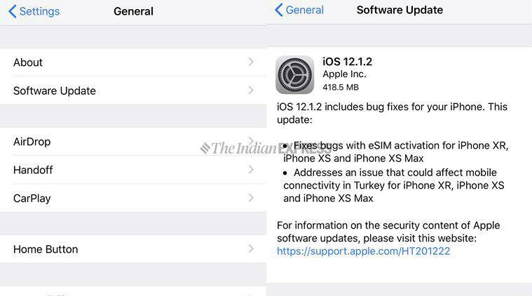 Apple releases iOS 12.1.2 update