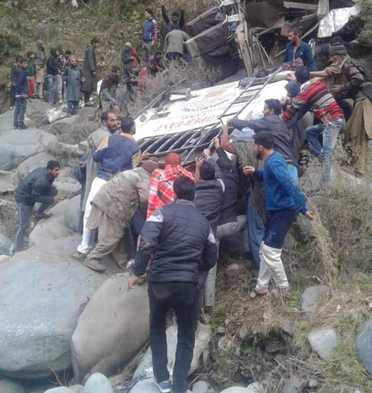 jk accident, jk bus accident, bus accident, bus falls into gorge, jk news, indian express
