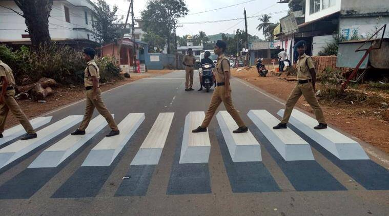beatles, beatles abbey road, abbey road cover, police beatles cover traffic rules, beatles zebra crossing, kannur police, indian express, viral news