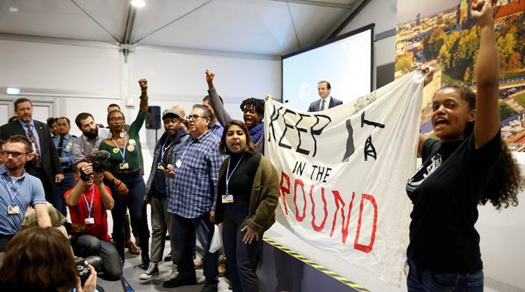 Dramatic protests disrupt US delegation event at climate talks