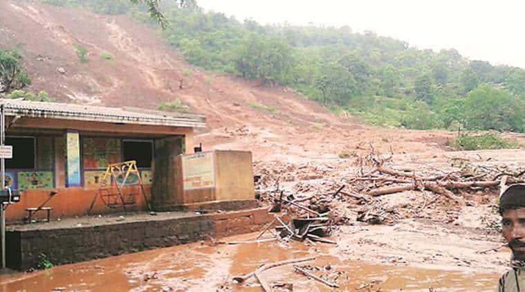 landslides, landslide-prone villages in Maharashtra news, funds for landslides, landslide news, indian express