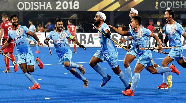 Manpreet Singh celebrates with teammates after a goal during a match against Belgium(red) for Men's Hockey World Cup 2018, in Bhubaneswar, Sunday, Dec 02, 2018.