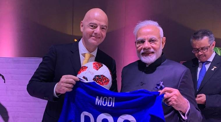Prime Minister Narendra Modi with FIFA chief Gianni Infantino at the G20 Summit