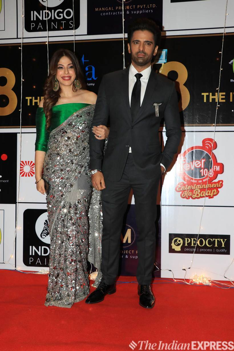 Kullfi Kumarr Bajewala actor Mohit Malik and wife Aditi Shirwaikar attended Indian Television Academy Awards 2018. (Photo: Varinder Chawla)