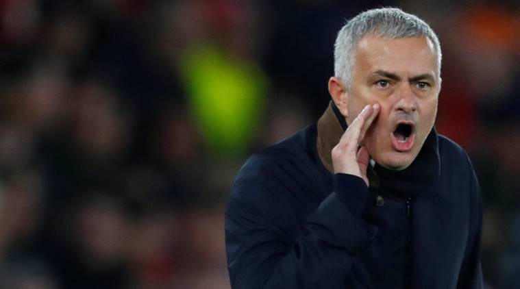 Manchester United manager Jose Mourinho reacts