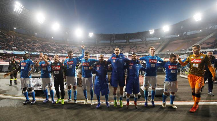 Napoli players celebrate after the match against Frosinone.