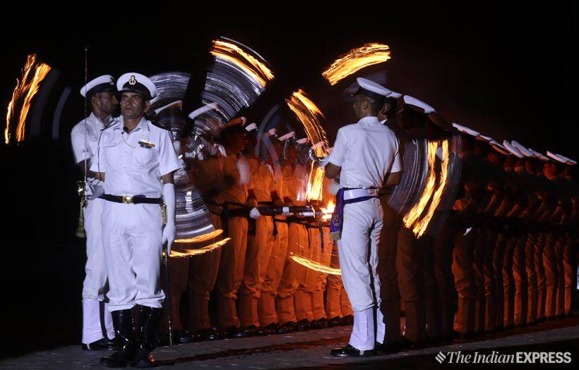 Indian Navy rehearses for Beating Retreat and Tattoo ceremony