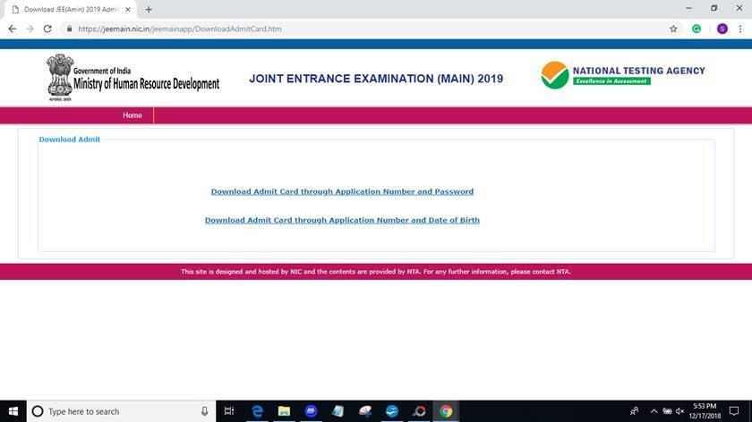 JEE main admit card 2019, JEE main 2019, JEE mains, nta.ac.in, jeemain.nic.in, nta, JEE Main admit card,