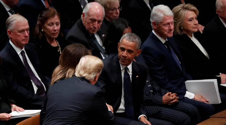 Watch video: No chumminess between Trump, Obama at George Bush funeral