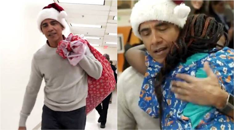 barack obama, barack obama hospital, obama as santa, obama, Obama surprises children, santa obama gifts, Christmas, barack obaama viral video,