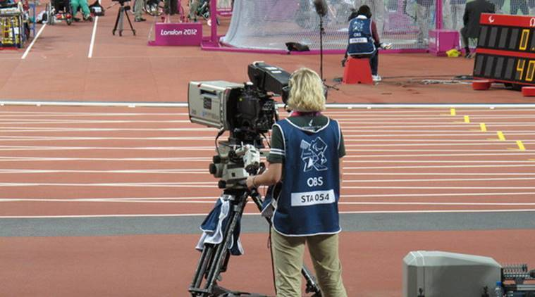 A cameraman for Olympic Broadcasting Services (OBS) at the London 2012 Olympics