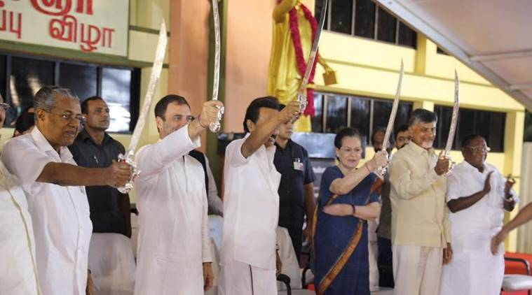 From left: Kerala CM Pinarayi Vijayan, Congress chief Rahul Gandhi, DMK president M K Stalin, UPA chairperson Sonia Gandhi and Andhra Pradesh CM N Chandrababu Naidu at the event in Chennai on Sunday. (Photo credit: Twitter/@INCIndia)