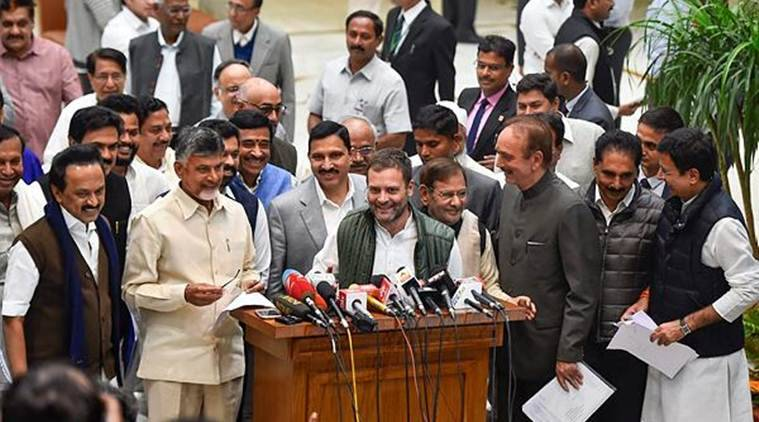 Opposition leaders address the media after the meeting on Monday. (PTI)