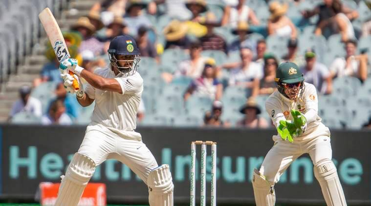 India's Rishabh Pant plays a cut shot during a play on day two of the third cricket test between India and Australia in Melbourne, Australia