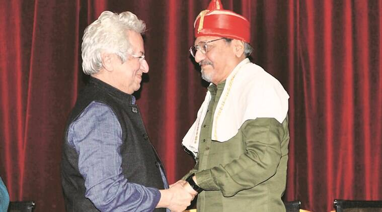 Kumar Shahni, a National Award winning director, felicitates actor, director Amol Palekar in Pune on Tuesday. Express