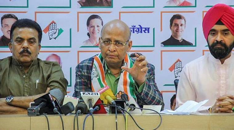 AICC spokesperson and Rajya Sabha member Abhishek Manu Singhvi with Mumbai Congress chief Sanjay Nirupam addresses the media on Rafale issue in Mumbai on Saturday. (PTI)