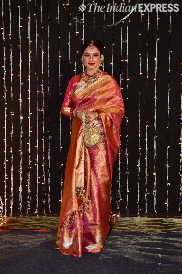 rekha at priyanka wedding reception