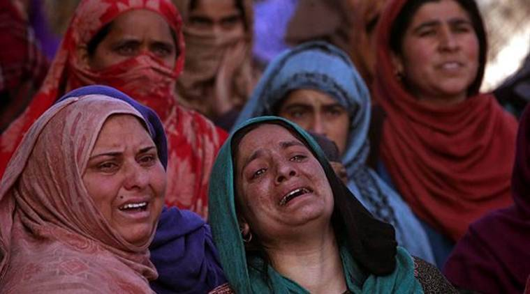 Women mourn during the funeral of Murtaza Bashir, a civilian, who according to local media reports was killed during the clashes in Pulwama on Saturday. (Reuters)