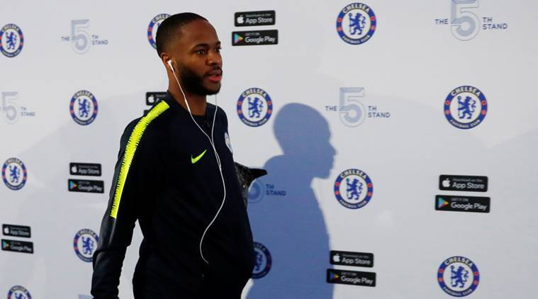 Manchester City's Raheem Sterling as he arrives at Stamford stadium before the match against Chelsea