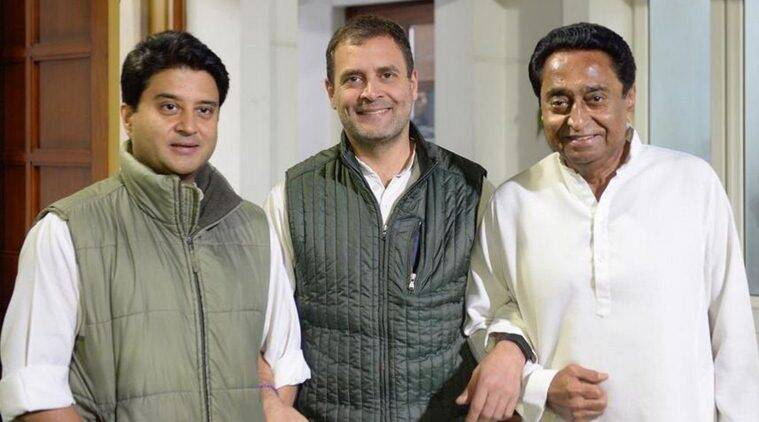 Congress chief Rahul Gandhi with Jyotiraditya Scindia and Kamal Nath. (Twitter/@RahulGandhi)