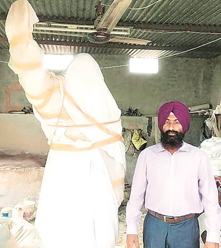 In Moga, a repaired Rajiv statue awaits re-installation