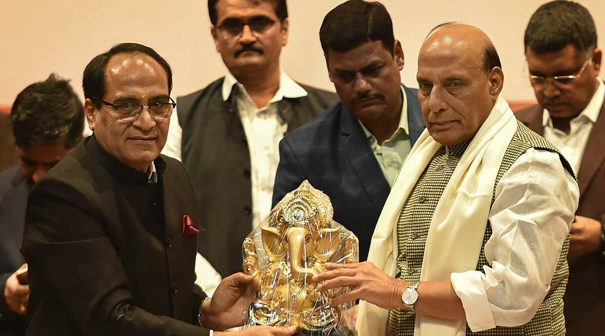 Union Home Minister Rajnath Singh at the convocation ceremony at GLA University in Mathura on Sunday. (Twitter/@rajnathsingh)
