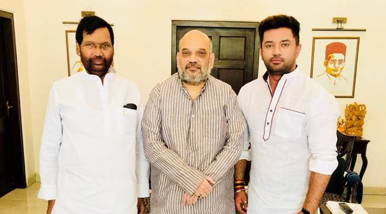 LJP chief Ram Vilas Paswan, son meet Amit Shah over 2019 seat sharing pact